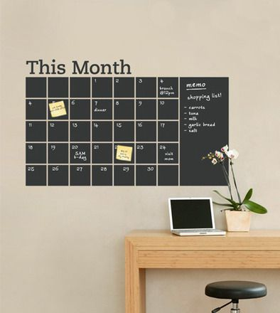 Chalk calendar.Chalkboard Walls, Chalkboards Painting, The Office, Wall Decals, Chalk Boards, Chalkboards Calendar, Wall Calendar, Home Offices, Chalkboards Wall