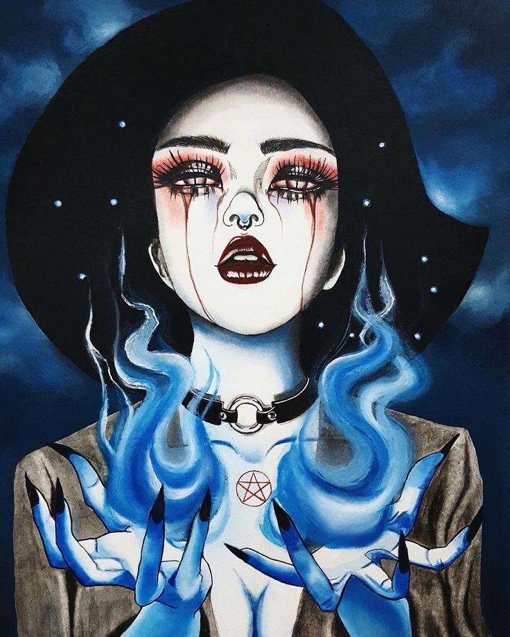 """""The Supreme"" #traditionalart #illustration #イラスト #ilustración #lowbrow #art_spotlight #beautifulbizarre #arsenicgallery #witch #darkart #magic #choker…"""