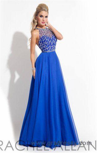 Long Royal Beaded Rachel Allan 2863 High Neck Prom Dresses 2015