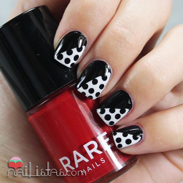 black and white polka dots nail art uas decoradas con lunares blanco y negro