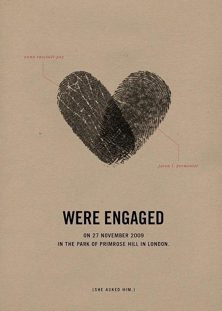fingerprint wedding invitesEngagement Parties, Thumb Prints, Wedding Announcements, Cute Ideas, Wedding Invitations, Fingerprints, Date Ideas, Engagement Cards, Engagement Announcements
