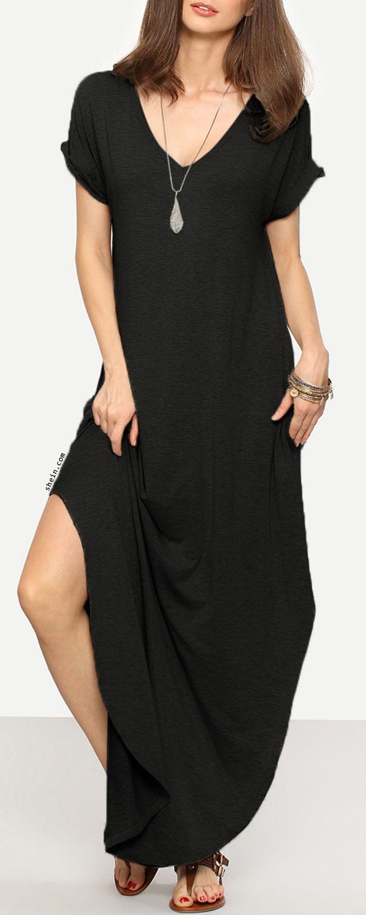 Rolled-Cuff Pockets Side Split Curved Dress
