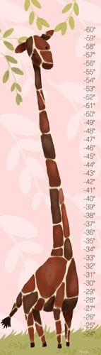Much better way to measure height then the pen on wall that my parents used.  http://www.rosenberryrooms.com/144-gillespie-giraffe-in-pink-growth-chart.html