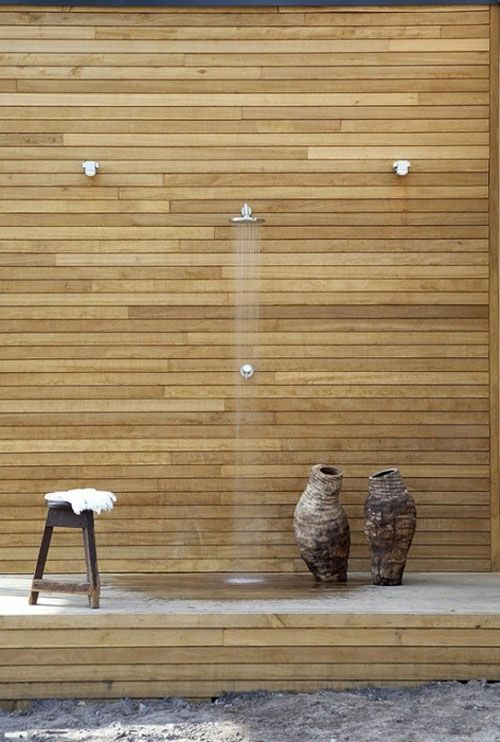 outdoor shower witih modern horizontal wood slats