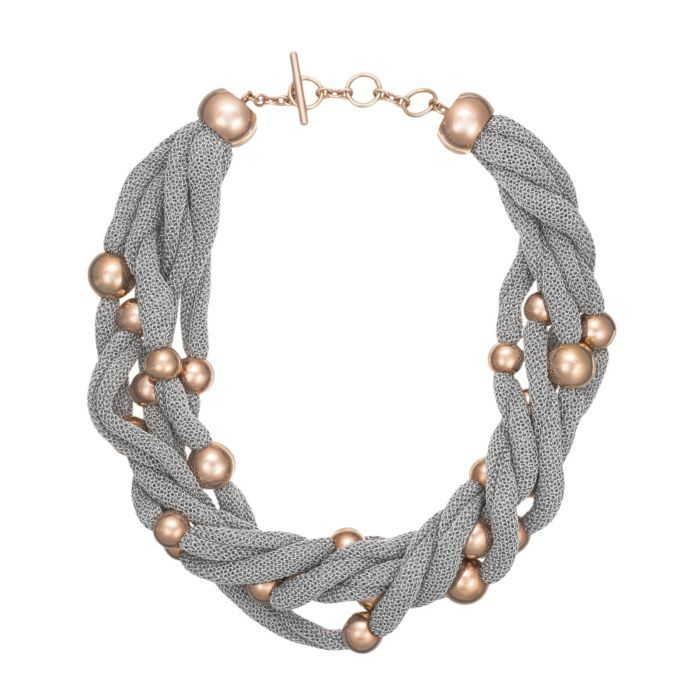 Sterling Silver & Rose Gold Plated Bead Cluster Necklace With Silver Mesh (ADAMI02 1108598)