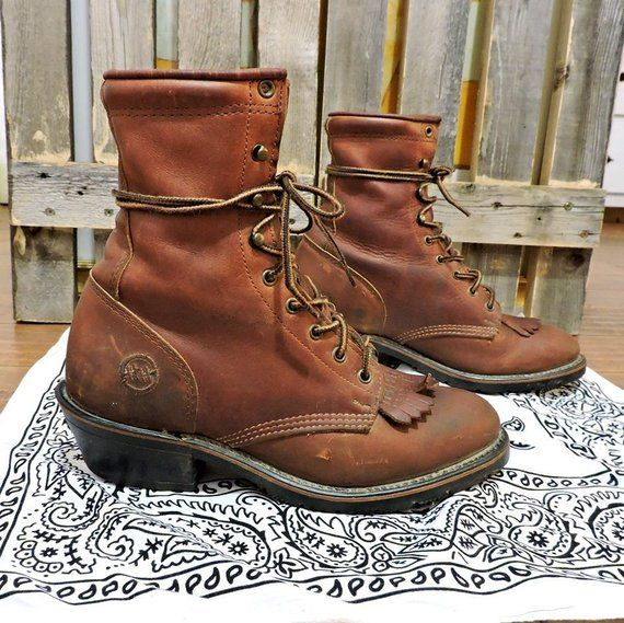 a00f748b0ae Womens Kiltie roper boots size 8 US / vintage Double H lacer ankle ...