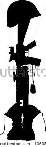 Fallen soldier battle cross - stock vector