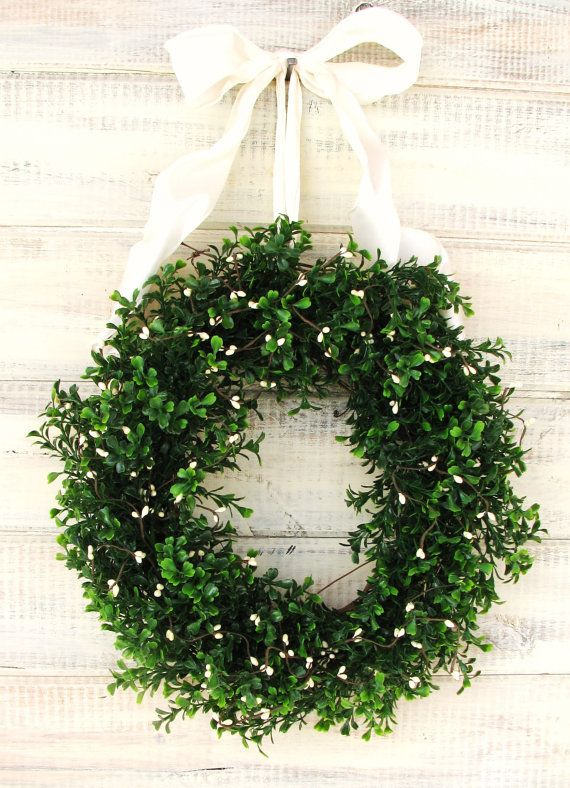 X-LARGE COUNTRY COTTAGE Boxwood Wreath-Artificial Boxwood Wreath-Summer Boxwood Wreath-Year Round Outdoor Wreath-Scented Cinnamon Vanilla