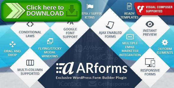 [ThemeForest]Free nulled download ARForms: Wordpress Form Builder Plugin from http://zippyfile.download/f.php?id=38509 Tags: ecommerce, ajax form, aweber integration, contact form builder, contact forms, form builder, form builder plugin, form creator, form creator plugin, forms plugin, mailchimp integration, wordpress forms, wordpress forms plugin, wp form builder