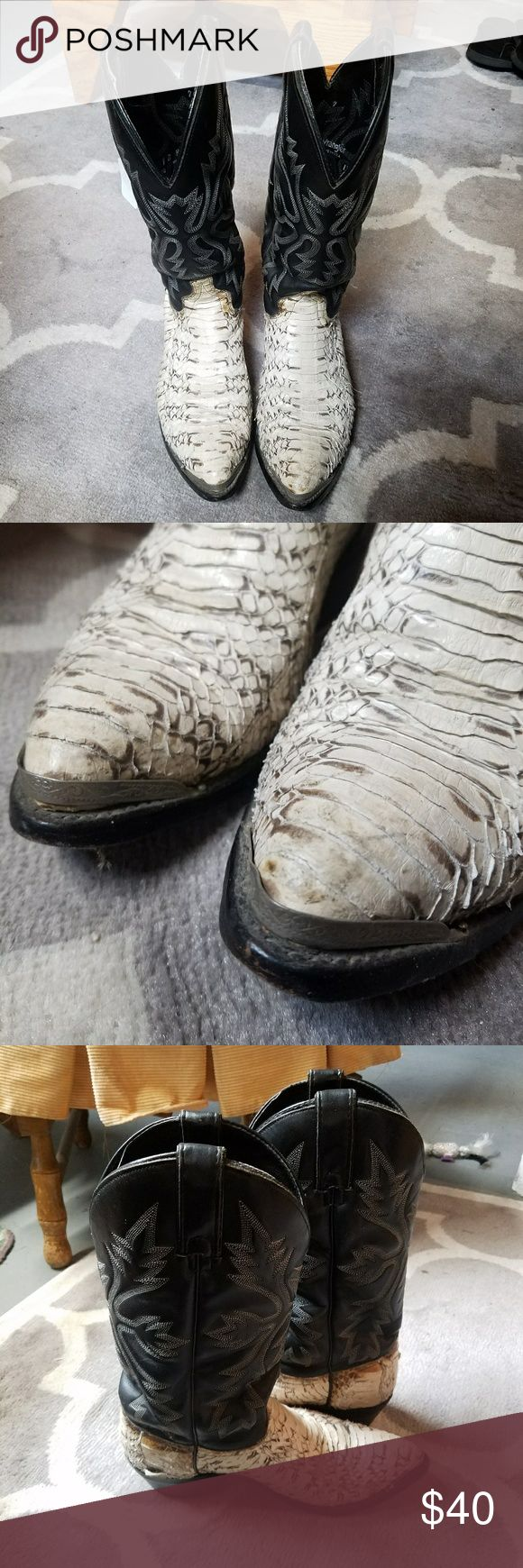 Snakeskin Cowboy Boots Snakeskin cowboy boots by Wrangler with boot tips. Size 7D men's which is like an 8.5 wide women's. The snakeskin has some wear. Wrangler Shoes Cowboy & Western Boots