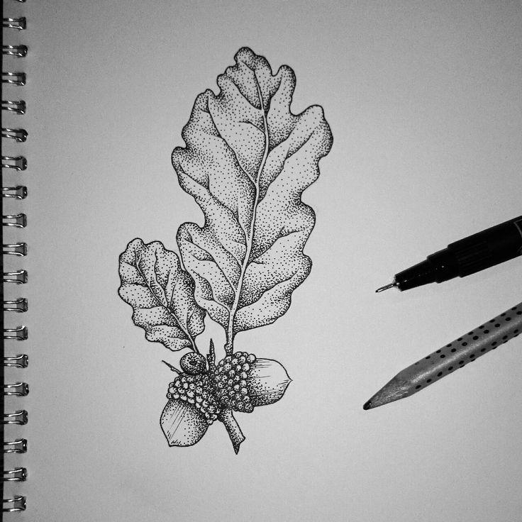 oak leaf tattoo black and white - Google keresés