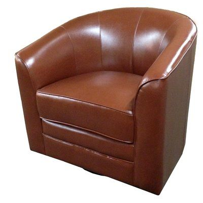 Andover Mills Wells Swivel Barrel Chair Upholstery: Saddle Brown