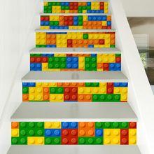 6 stuks/set creative diy 3d stairway stickers lego blokken patroon voor kamer trappen decoratie interieur vloer muursticker(China (Mainland))