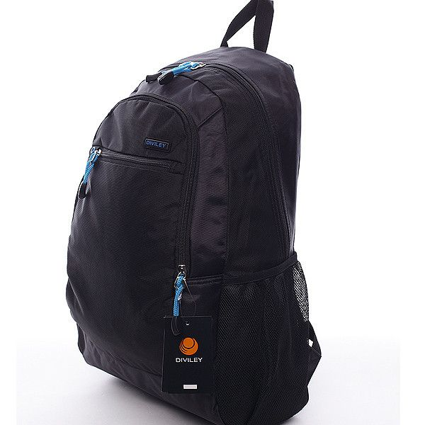 #batoh Černý batoh Diviley s prostornými kapsami. Černá kombinovaná s výraznou modrou je to pravé právě pro vás. Batoh má vyztužená záda, nastavitelné polstrované popruhy a několik kapes. Dopřejte si kvalitní a pohodlný batoh nejen pro vaše tůry.