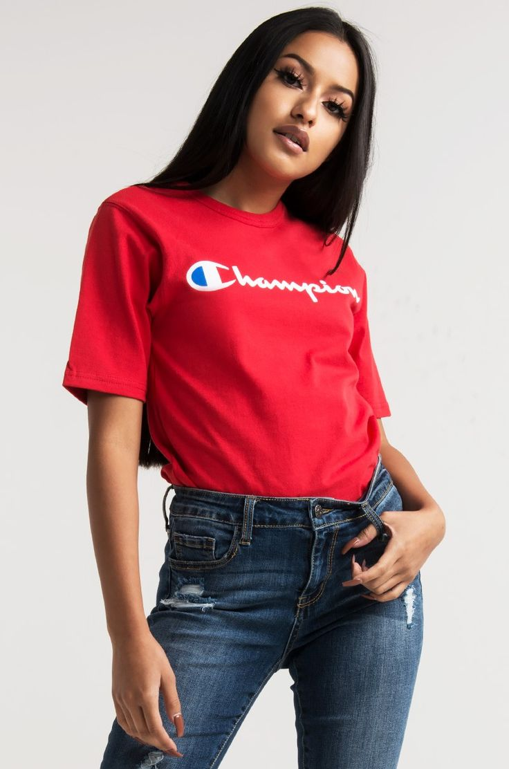 Front View Champion Womens Reverse Weave Script Tee In