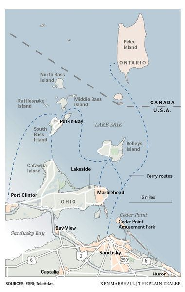 Map of the Lake Erie Islands region, including Ohio and Ontario islands, boundary and ferry routes. Via @clevelanddotcom  13TGISLANDS.jpg
