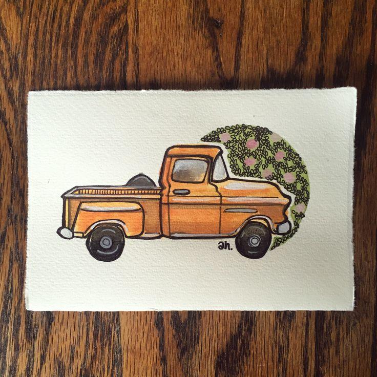 Custom Vintage Truck Portrait, Pick-Up Truck Illustration, Customized Retro Trucks, Camper Truck Illustration, Ford Truck Drawing, Datsun by AmyMHuberShop on Etsy