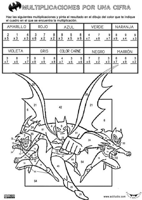 Fichas para colorear de las tablas de multiplicar. Aula de