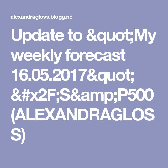 """Update to """"My weekly forecast 16.05.2017"""" /S&P500 (ALEXANDRAGLOSS)"""