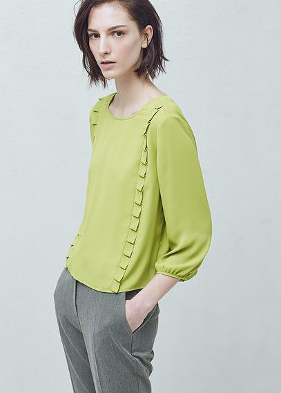 Womens lime pleated trim blouse from Mango - £29.99 at ClothingByColour.com