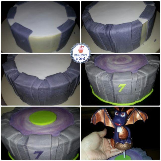 Spyro Skylander Portal Cake - creating a Portal effect around a round cake using fondant.