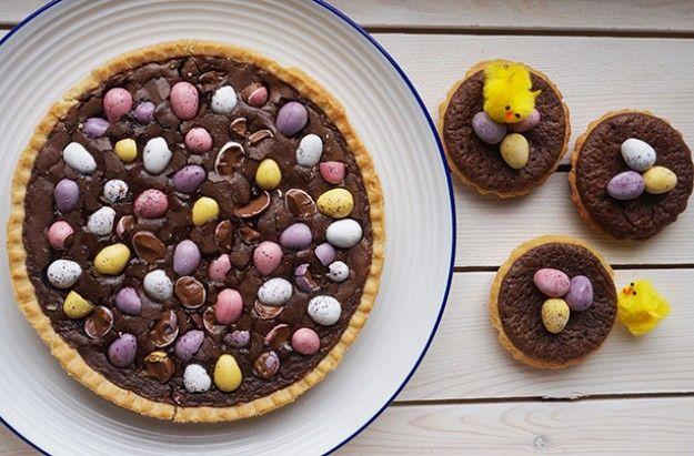 Mini egg brownie tart
