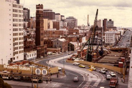 View of construction in central Melbourne 1975