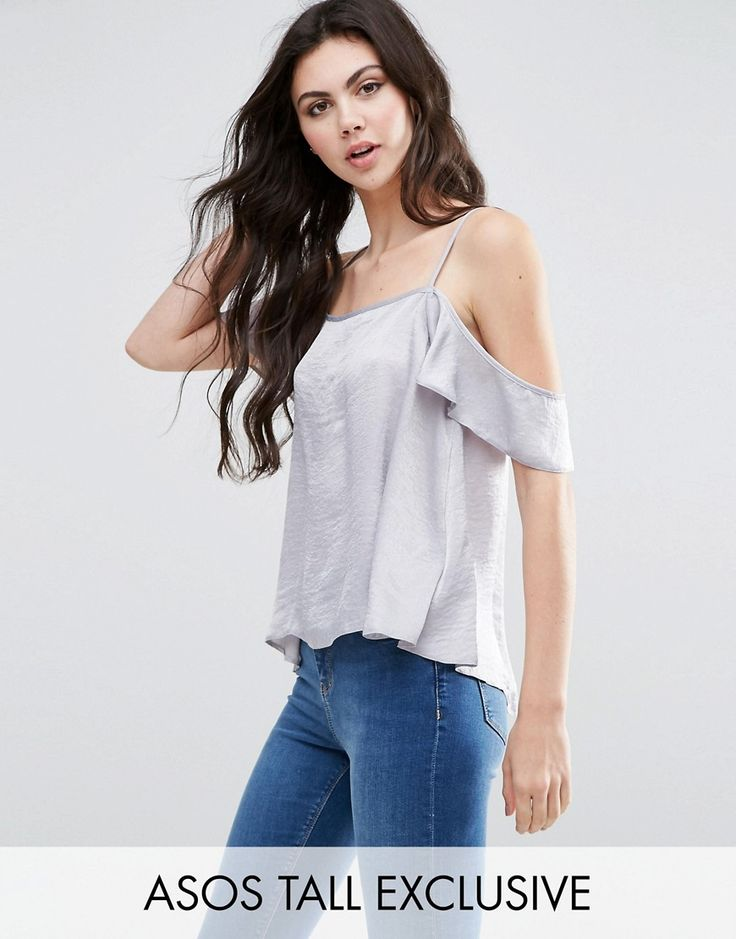 Buy it now. ASOS TALL Cold Shoulder Flutter Sleeve Cami Top - Silver. Tall top by ASOS TALL, Lightweight woven fabric, Square neck, Cami straps, Cold shoulder cut, Button-back fastening, Split open back, Regular fit - true to size, Machine wash, 100% Polyester, Our model wears a UK 8/EU 36/US 4. ABOUT ASOS TALL Find fresh wardrobe wins with our ASOS TALL edit. Raise your sunrise-till-sunset game with occasion dresses, cool separates and jeans that go up to a 38� leg length and are…