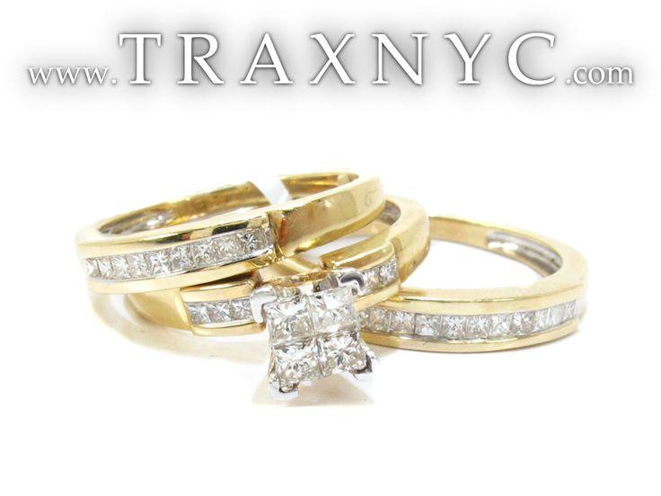 Superb wedding sets Cut Invisible Diamond Wedding Ring Set Ladies Diamond Wedding Set