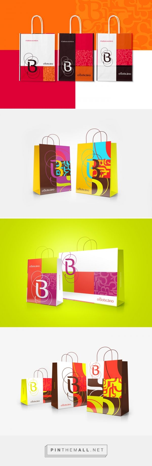 O Boticário Shopping Bags on Behance by Nelson Balaban Curitiba, Brazil curated by Packaging Diva PD. Shopping bags with a playful, colorful approach of the brand's symbol and pattern. Graphic design, packaging.