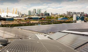 Solar thermal and solar PV panels on the roof of The Crystal building in east London