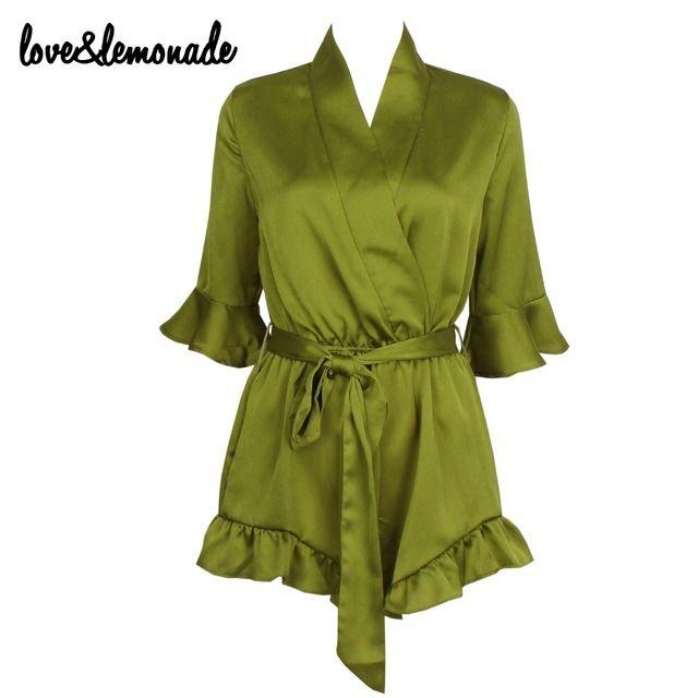 Любовь и Лимонад Зеленый V-образным Вырезом Рукава Воланами Комбинезоны ТБ 9275
