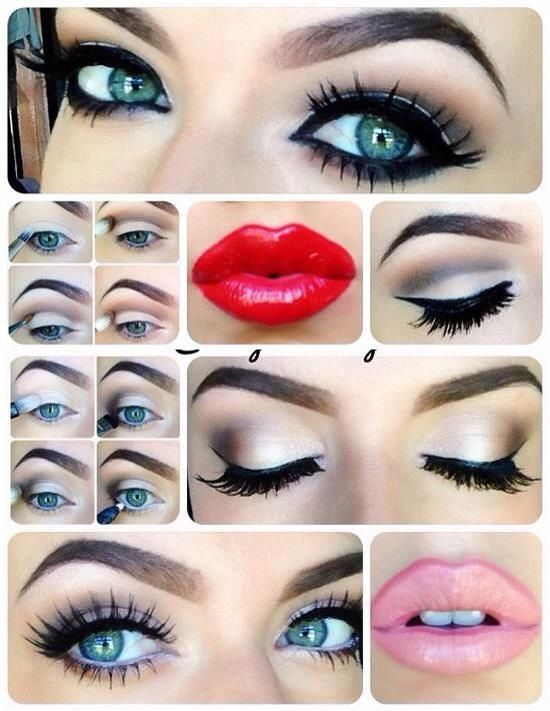 Grey eye Make up with red lips