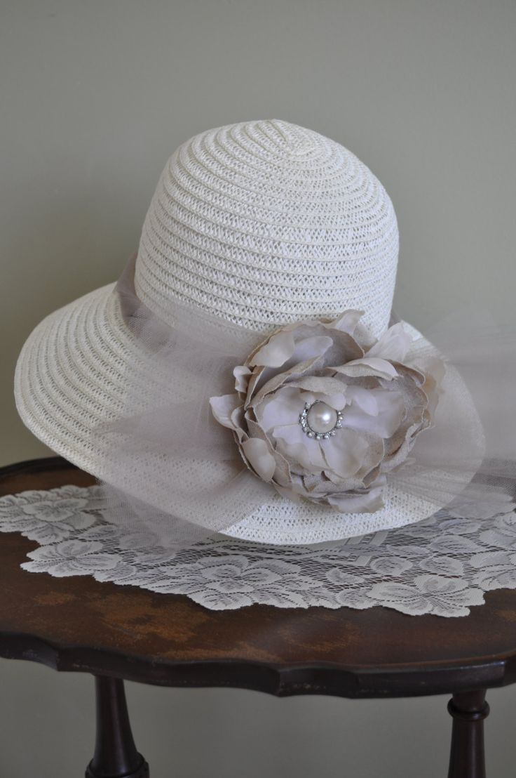 Taupe High Tea Hat, Hair, Accessory, Bridal, Wedding, Prop, Kentucky Derby, Tulle, Garden, Party, Afternoon Tea by VintageCreationsAnna on Etsy