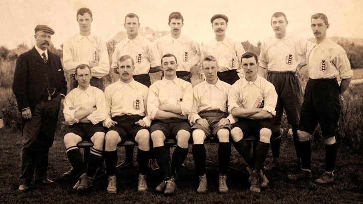 Vivian Woodward (third from left, back row) in Belfast with England where they beat Ireland 3-1 in March, 1904