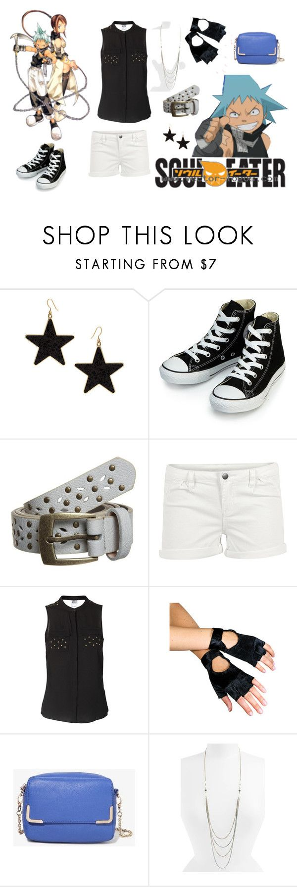 """Black Star Soul Eater Outfit for Girls"" by taylor-crawley ❤ liked on Polyvore featuring Talullah Tu, Converse, even&odd, Pieces, Vero Moda, Forever 21 and Rachel"