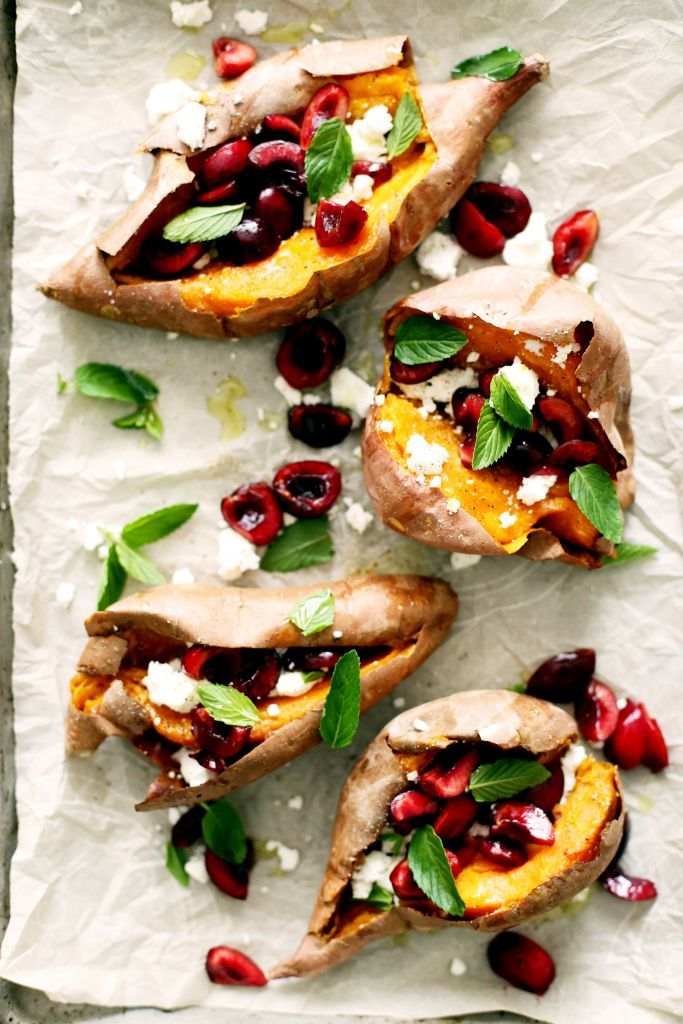 Loaded Cherry, Mint, and Goat Cheese Sweet Potatoes