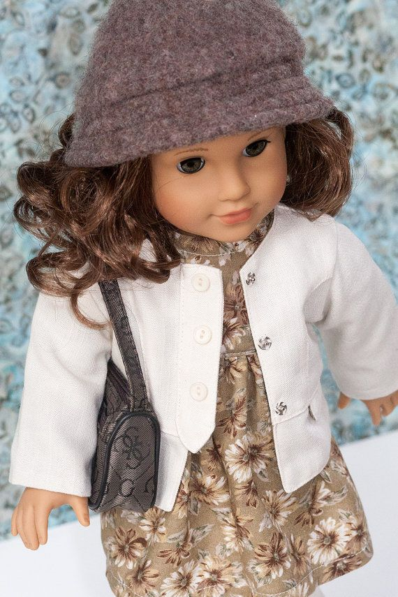 """American Girl Doll Clothes, Tan Print Baby Doll Dress, Jacket, Hat and Purse. Clothes Fits Most 18"""" Dolls including Our Generation"""
