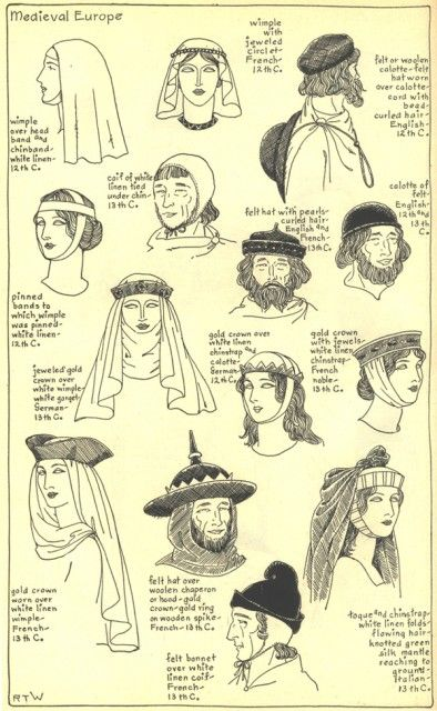 Mostly Marches styles - all 25 pages of medievals hats from THE MODE IN HATS AND HEADDRESS  By R. Turner Wilcox at this link