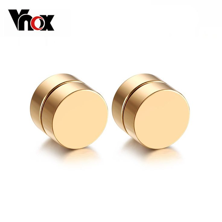 Vnox Magnetic Round Stud Earrings For Men Boy 316l Stainless Steel Magnet Ear Jewelry Don't Need Ear Canal