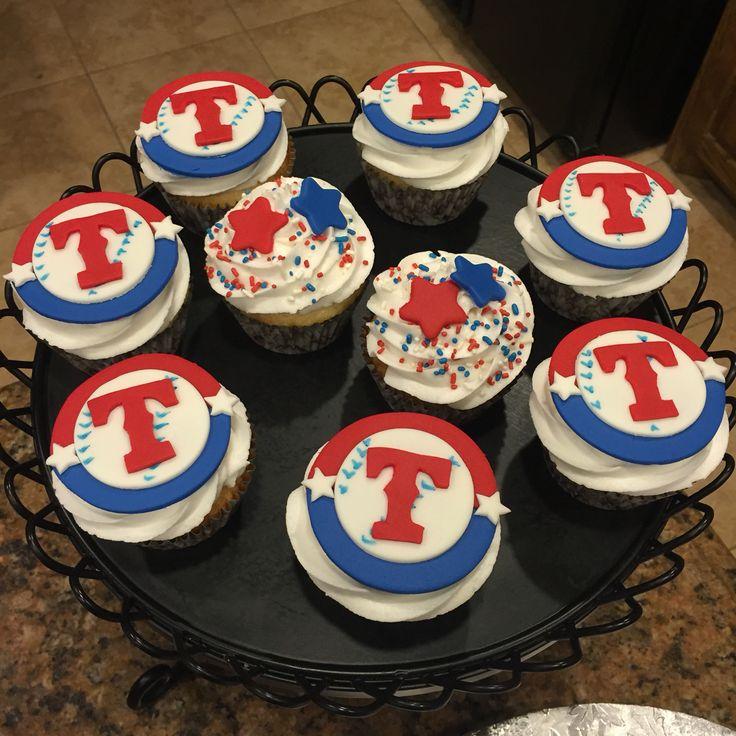 Texas Rangers birthday cupcakes!
