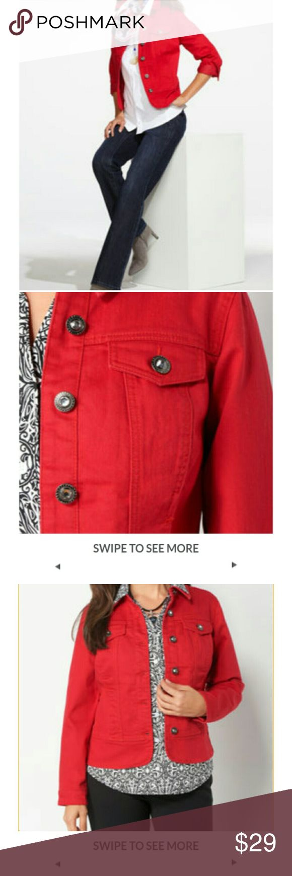 "CHRISTOPHER &BANKS RED DENIM JACKET Finish your look in the bold style of this red jean jacket. It features a classic silhouette with shimmery rhinestone buttons and chest pockets.Jean jacketChest pockets23.5"" length (size M)Long sleeveDenimMachine wash cold Christopher & Banks Jackets & Coats"