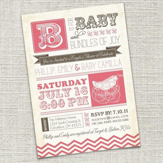 Vintage Retro Baby Shower Invitation