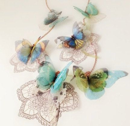 Lace Butterfly Lariat Necklace Open to custom Orders by jewelera, $155.00