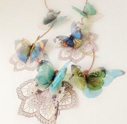 Spitze Schmetterling Lariat Halskette offen für von jewelera