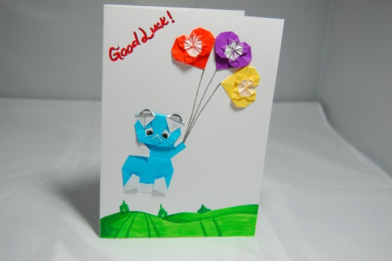 Good Luck Origami Card Origami Bear & Hearts by SallysArtistry, $4.99