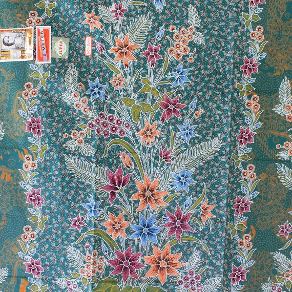 teal flowers print pure cotton traditional by TheThailand on Etsy