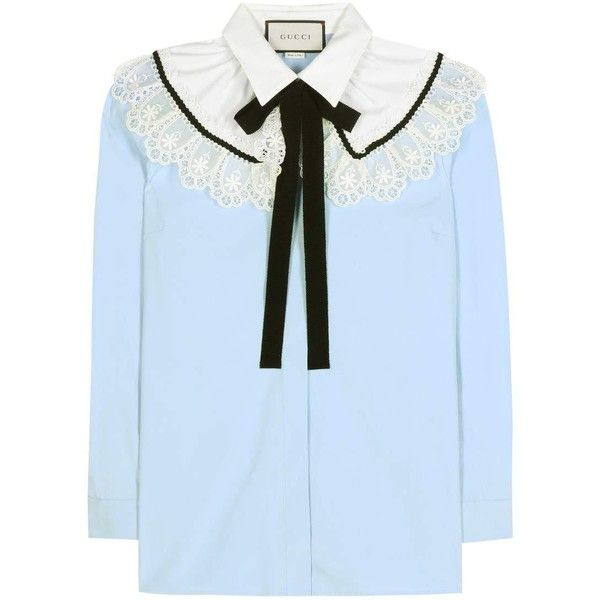 Gucci Lace-Embellished Cotton Blouse (379.365 HUF) found on Polyvore featuring women's fashion, tops, blouses, blue, gucci tops, lace blouse, gucci blouse, cotton lace top and lacy blouses