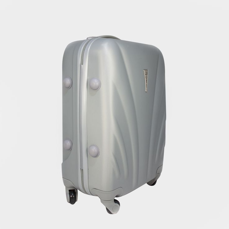 Malý strieborný cestovný kufor plastový vo vyhotovení ABS
