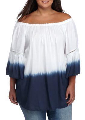 Grace Elements Women's Plus Size Dip Dye Peasant Top - White/Navy - 2X